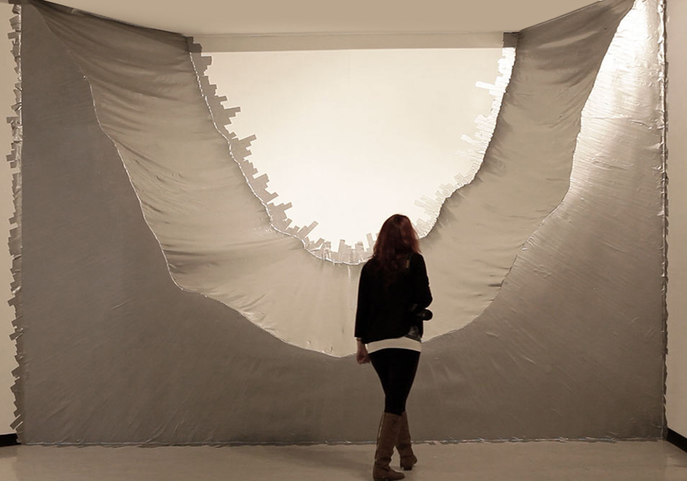 Installation with duct tape, space intervention by Alejandra Avilés
